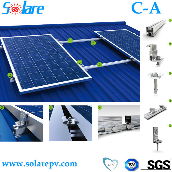 Solar photovoltaic roof mounting system with CE, ISO