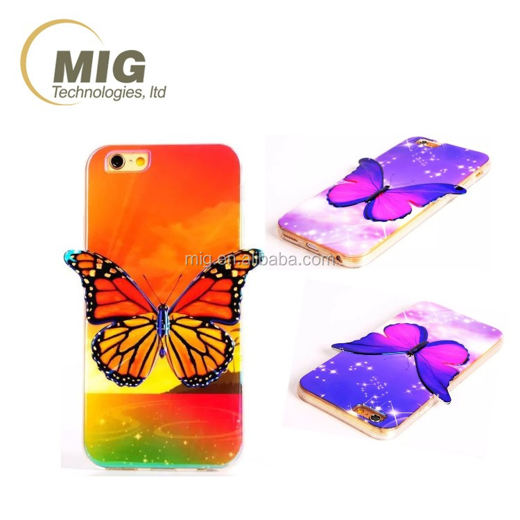 Fashion Colorful 3D Bluray Butterfly soft tpu mobile phone case/ cell phone back cover for samsung galaxy s3/ s4/ s5/ s6 edge +