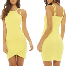 Ladies fashion clothing one piece yellow colour adult lady girls party dress