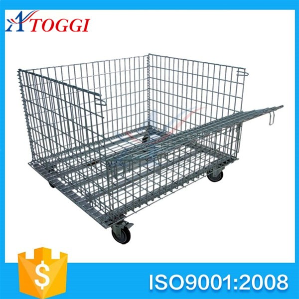 folding industrial steel wire mesh storage cage