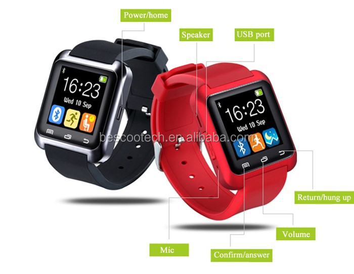 U80 Smart Watch Call Message Reminder Sleep Monitor Black/White/Red color