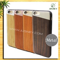 2017 new product with novel style for genuine wooden phone case original handmade metal phone case with soft TPU for iphone6
