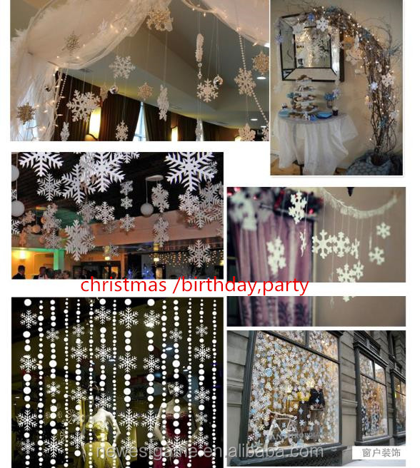 3 m/piece snow Christmas <strong>decorations</strong> Supplies hanging <strong>decorations</strong> hotels kindergartens shop Windows costumes snowflake white