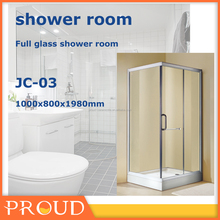 Glass body and acrylic bottle shower room, enclosed shower room
