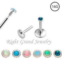 16 Gauge Internally Threaded Opal Cheap Lip Rings
