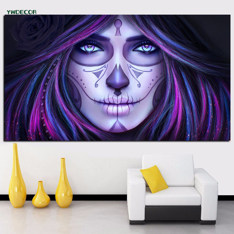 Comics Theme Canvas Art Painting Lady Death Portrait Stretched Canvas Picture Decoration