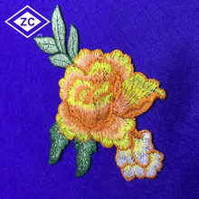Custom size fashion large personalized applique embroidery flower clothes patches for wholesale
