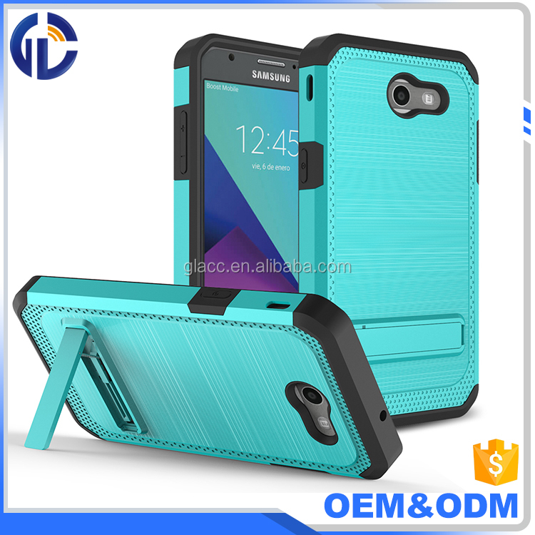 2017 Hot New Arrivals Shockproof Cell Phone Case Hybrid Kickstand Metal Brushed Cover For J3 Prime J327