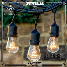 Bulbrite E27 E26 black Outdoor Light String Light with Vintage Edison Bulbs