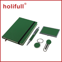 2016 plain color pu leather A5 size notebook metal pen new year business gift set
