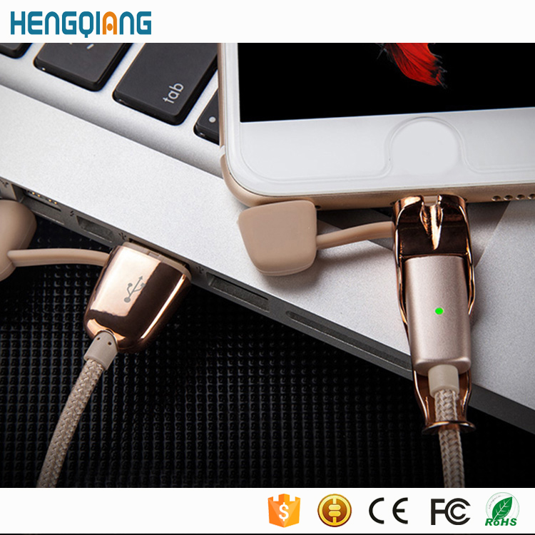Top selling mobile data cable charging usb cable for iPhone and Android data cable 2 in 1