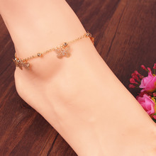 Alloy gold plated butterfly beads anklet