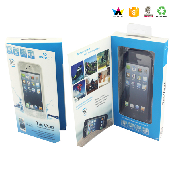 Cell Phone Case Paper Packaging Box With Clear PVC Window