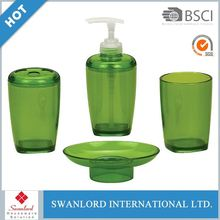 Fashion Design Plastic Bathroom Accessory Set With Green Color