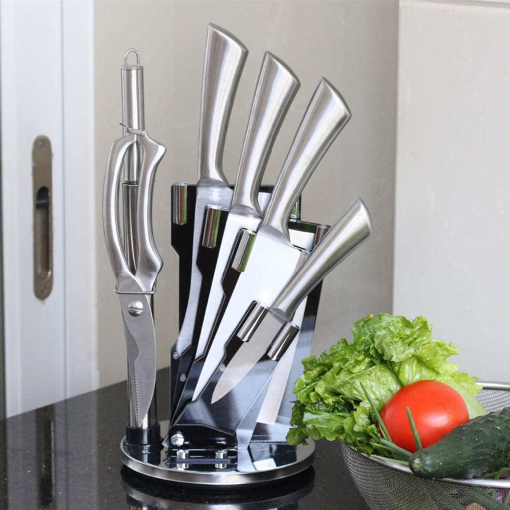 High Quaility Stainless Steel 7pcs Kitchen Knife Set With Rotatable Knife Holder/Stand
