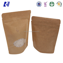 Effect assurance opt coffee bag with window zipper tea packaging kraft paper