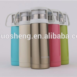 2015 best selling PU sleeve wrapped double wall 18 8 stainless steel thermos flask vacuum cup