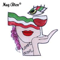 hot sale art style sequin big eye wine glass lady embroidery patch
