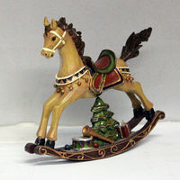 Polyresin christmas rocking horse figurine for home decoration