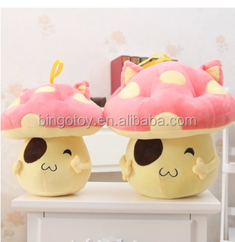 High quality soft plush vegetables pink mushroom toy/stuffed vegetables toys/cute plush mushroom toy