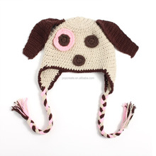 2016 New design with ear winter animal beanie dog face knitted hat