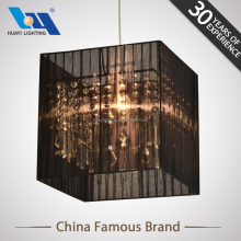Adjustable 1 meter suspension wire high quality transparent crystal light with black wired lampshade