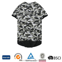 Bulk classic curved hem quick dry 100 cotton camouflage elongated long t shirts tee