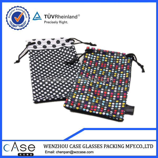 WZ Patchwork bags with printed dots and black microfiber for ladies D125