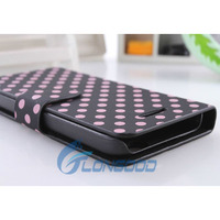Flip Stand Polka Dot PU Leather Folio Book Case Cover For New i Phone 5C