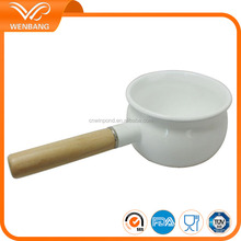 Wooden handle enamel milk&coffee boiling pot chinese tea pot