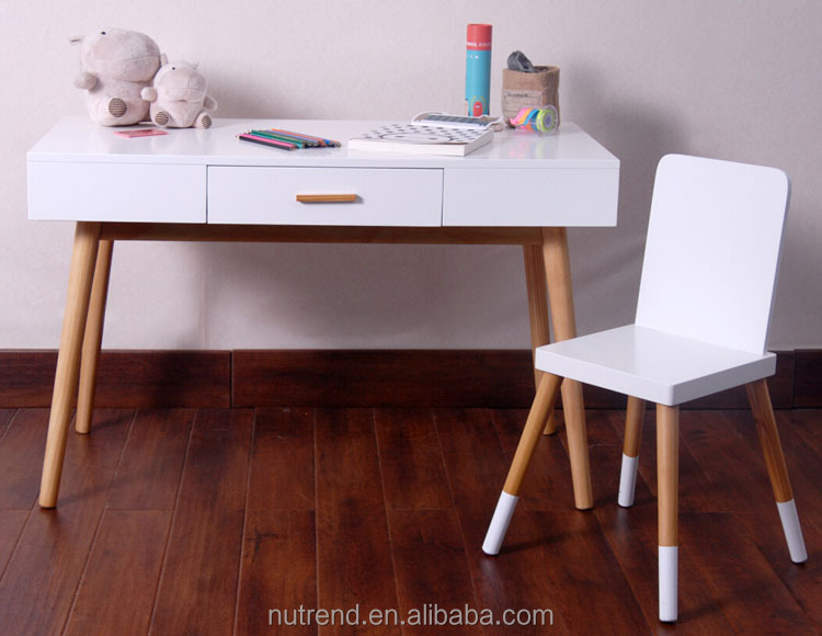 Wooden modern children study table and chair set