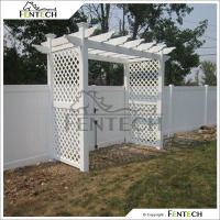Fentech White Privacy Decorative Decorative Vinyl Fencing and Pergola for Garden, Yard