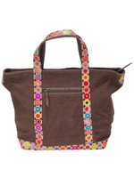Brown leather and cotton tote bag/canvas tote bag leather handle