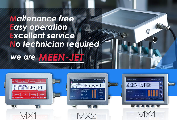 Meenjet MX2 Inkjet printer for plastic bag box Marking equipment with conveyor belt for automatic production