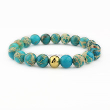 BN1047 Natural 8mm blue gemstone bracelet with gold spacer bead,sea sediment jasper stone bracelet jewelry