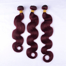 Remy virgin human hair body wave color 99j hair weave red braiding hair