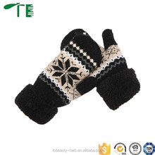 Customized knit acrylic winter jacquard mittens for adult