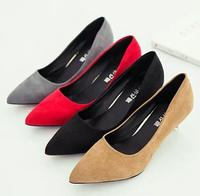 Woman Fashion party pointed shoes high heel ladies suede elegant dress shoes