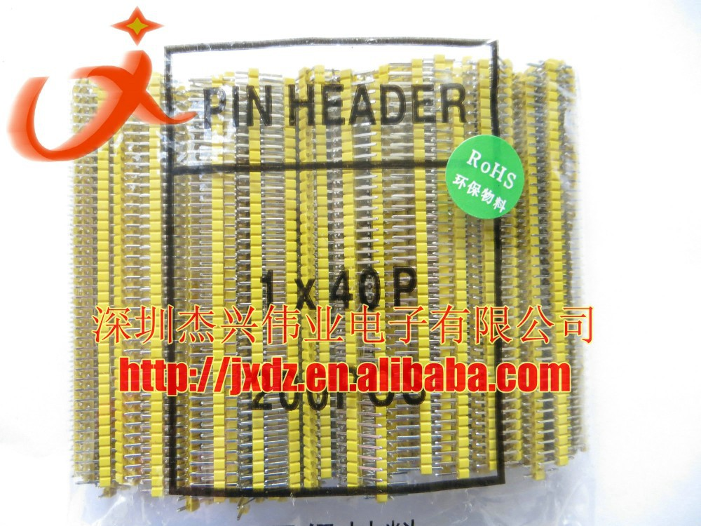 40pin pin header 2.54mm 1x40p male connector gold plated single row black/white/yellow/Green/Blue/Red