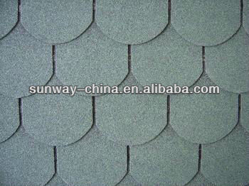 Fish-scale asphalt shingle roofing tiles (Chateau green)