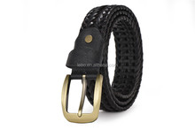 Men fashion jeans pants braided belts Italian bonded leather belts