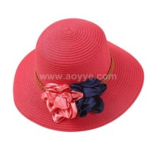 Wholesale fashion summer shade custom sun paper straw hat for ladies with flower