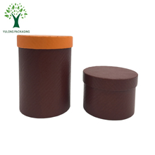 Machine Made Cardboard Brown Color Gloss Pattern Cylinder Paper Tube Round Hat Box