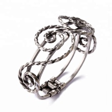 Female vintage spiral wrap antique silver plated brass cuff Bangle imitation jewelry
