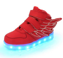 2017 LED light USB charging shoes for boys with wind boys party shoes
