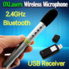 pen shaped mini portable 2.4G wireless microphone handheld bluetooth MIC with USB receiver for conference and teaching