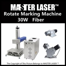 2017 30W Max Fiber Laser Rotary Marking Machine for Gold and Silver with Laser Head Scanning Speed 10000mm/s