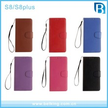 New Strap PU Leather Flip Folio Kickstand Wallet Case with Card Slots for Samsung S8 plus S8