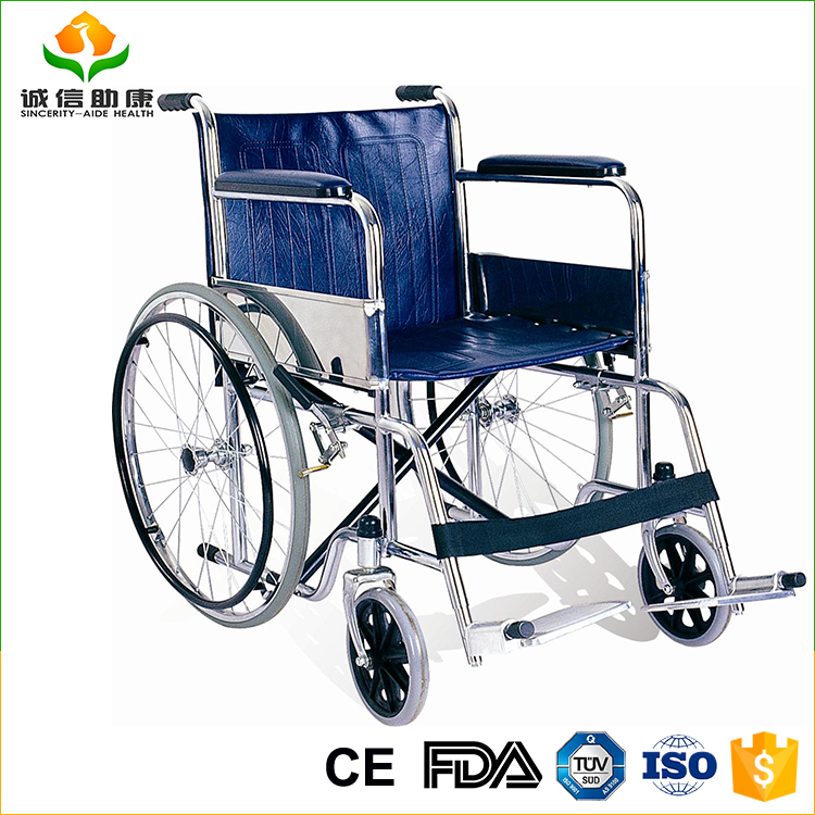 Good quality lightweight chrome plate steel frame coated hand rim adjustable wheelchair