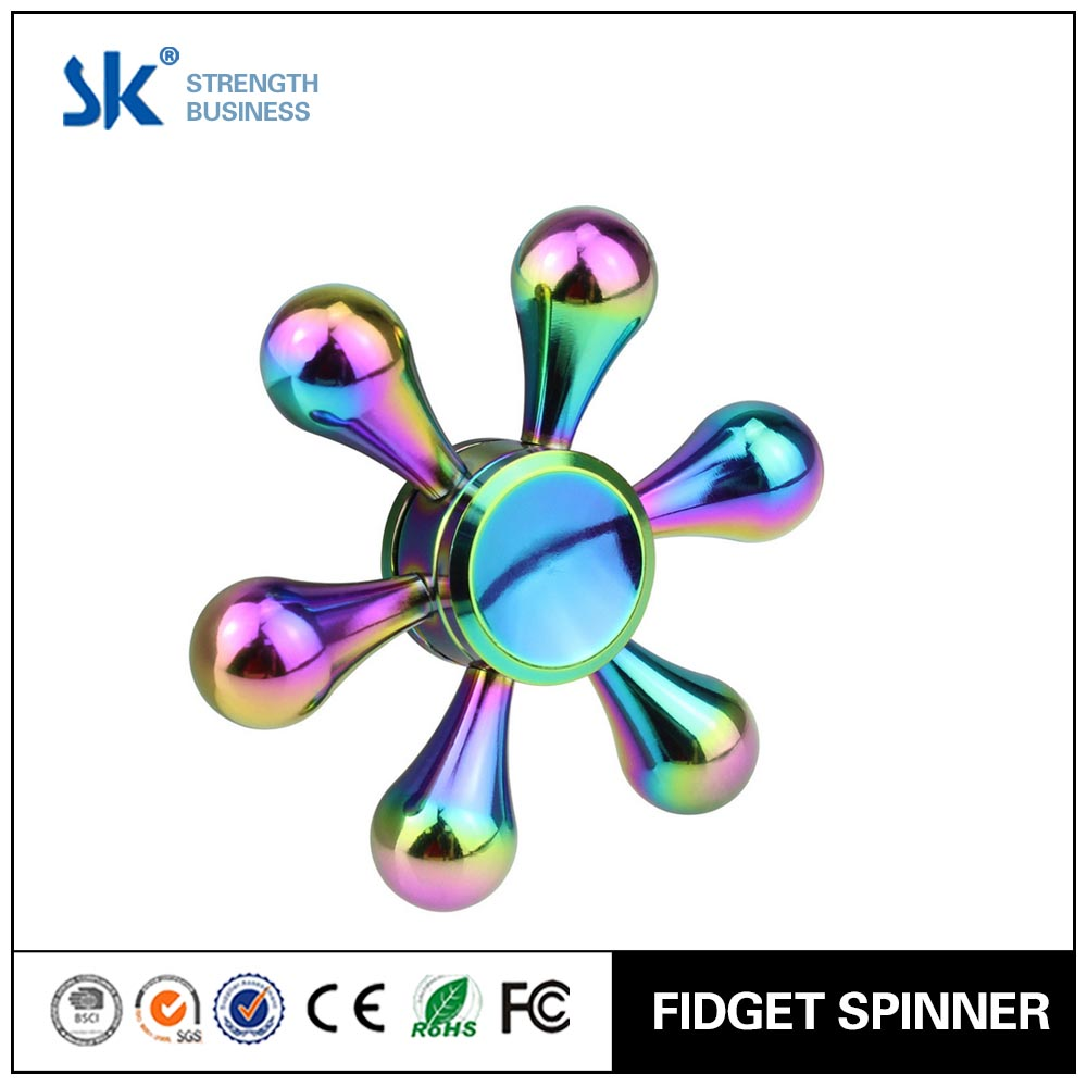 Sanke 2017 Hand Spinner for Adult & Kids Fast 6 Arms Modular Wheel Rudder Style Fidget Metallic Spinning Toy for Time Killing